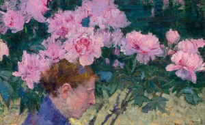 John Peter Russell, Peonies and head of a woman (1887), oil on canvas, 407 x 65 cm, NGV Melbourne, Gift Dr Joseph Brown AO OBE, 2004