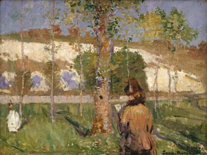 John Peter Russell (1858-1930), Madame Sisley on the banks of the Loing at Moret, 1887, Oil on canvas 45.7 x 60.9 cm. Purchased with assistance from the Margaret Hannah Olley Art Trust 1996