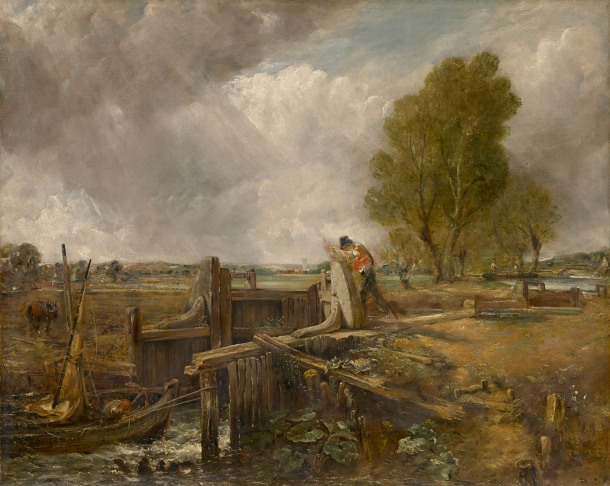 Sketch for A boat passing a lock, c.1823-1826, oil on canvas 102.2 x 128.0 cm. National Gallery of Victoria, Melbourne Felton Bequest, 1951
