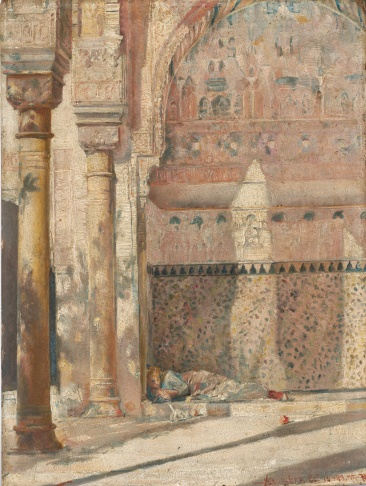 Tom Roberts (1856–1931) Basking – A Corner in the Alhambra, 1883 Oil on panel, 21.6 × 16.2 cm National Gallery of Australia, Canberra. Purchased 2001 RA 1884, no. 775