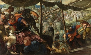 Jacopo Tintoretto (1519–1594): The abduction of Helen, c.1578–79 oil on canvas, 186.0 x 307.0 cm, Prado, Madrid